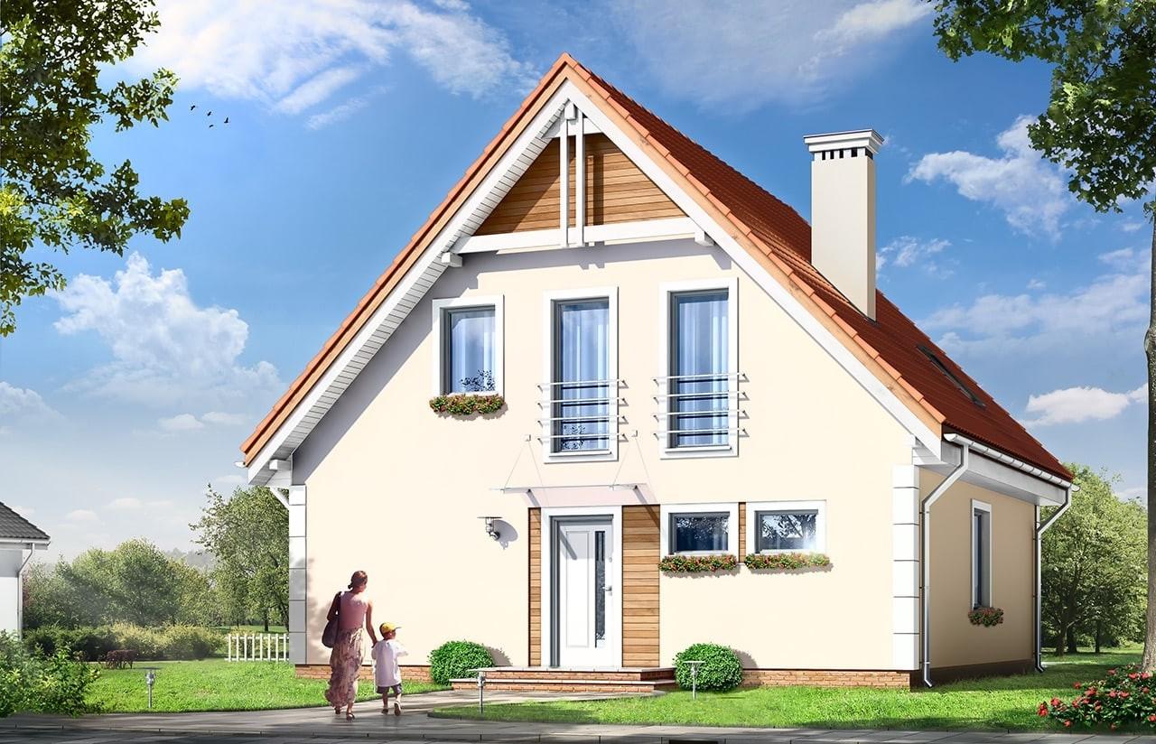 Projekt domu Małgosia - wizualizacja frontowa