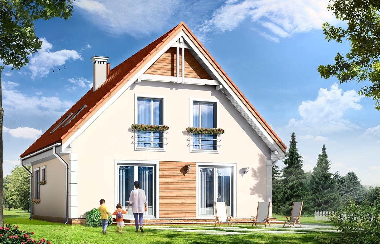 Projekt domu Małgosia - wizualizacja tylna odbicie lustrzane