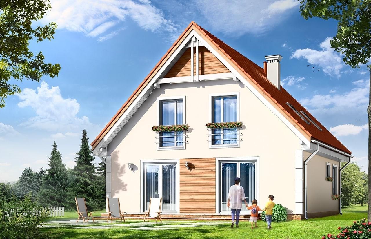 Projekt domu Małgosia - wizualizacja tylna