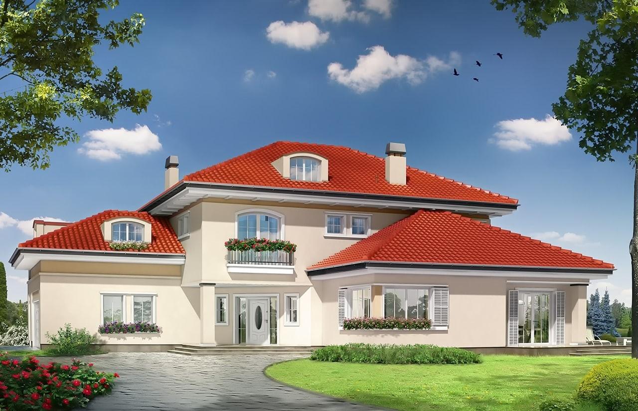 Projekt domu Malibu - wizualizacja frontowa odbicie lustrzane