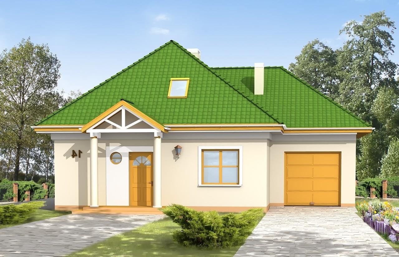 Projekt domu Mazurek 2 - wizualizacja frontowa odbicie lustrzane