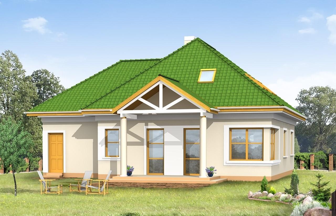 Projekt domu Mazurek 2 - wizualizacja tylna odbicie lustrzane