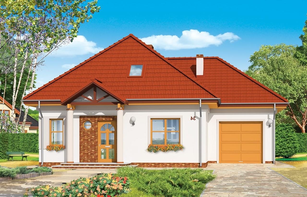 Projekt domu Mazurek 3 - wizualizacja frontowa odbicie lustrzane