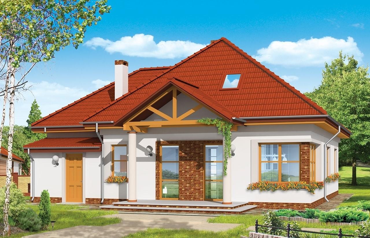 Projekt domu Mazurek 3 - wizualizacja tylna odbicie lustrzane