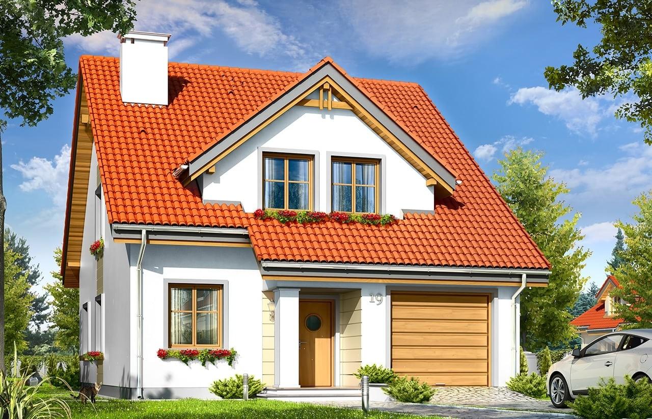 Projekt domu Mewa - wizualizacja frontowa