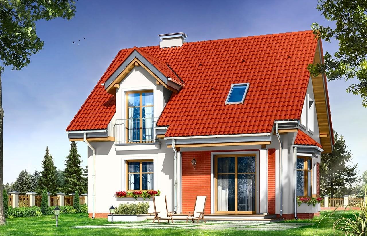 Projekt domu Michałek - wizualizacja tylna odbicie lustrzane