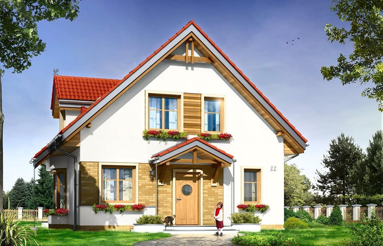 Projekt domu Michalina - wizualizacja frontowa odbicie lustrzane
