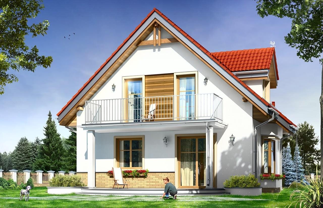 Projekt domu Michalina - wizualizacja tylna odbicie lustrzane