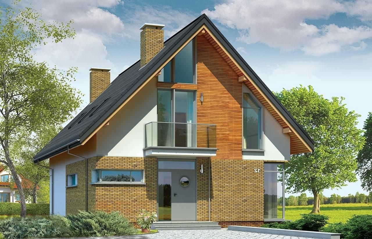 Projekt domu Miejski - wizualizacja frontowa odbicie lustrzane