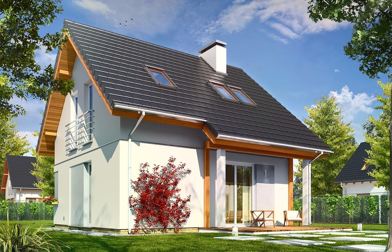 Projekt domu Mikrus - wizualizacja tylna odbicie lustrzane