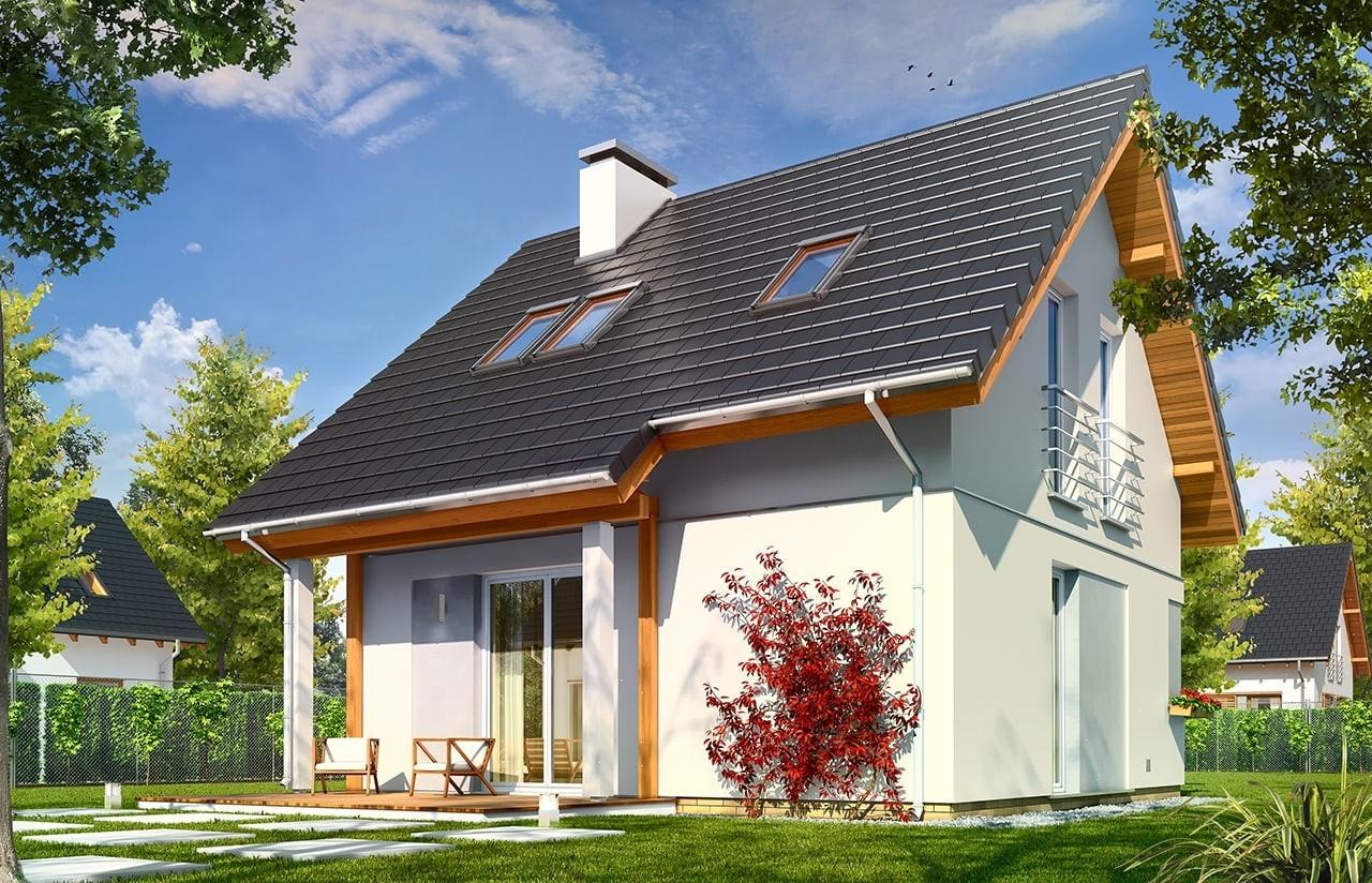 Projekt domu Mikrus - wizualizacja tylna