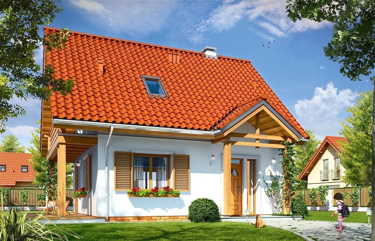 Projekt domu Milutki - wizualizacja frontowa odbicie lustrzane
