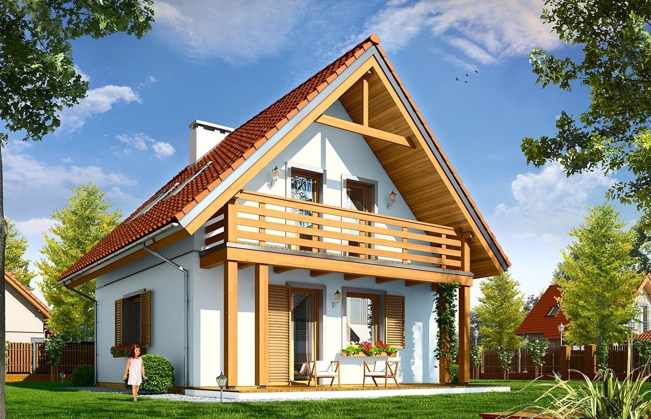 Projekt domu Milutki - wizualizacja tylna odbicie lustrzane