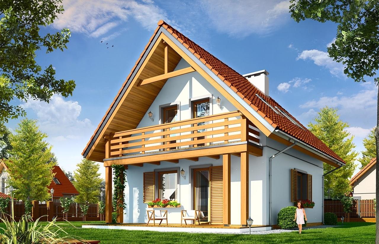 Projekt domu Milutki - wizualizacja tylna