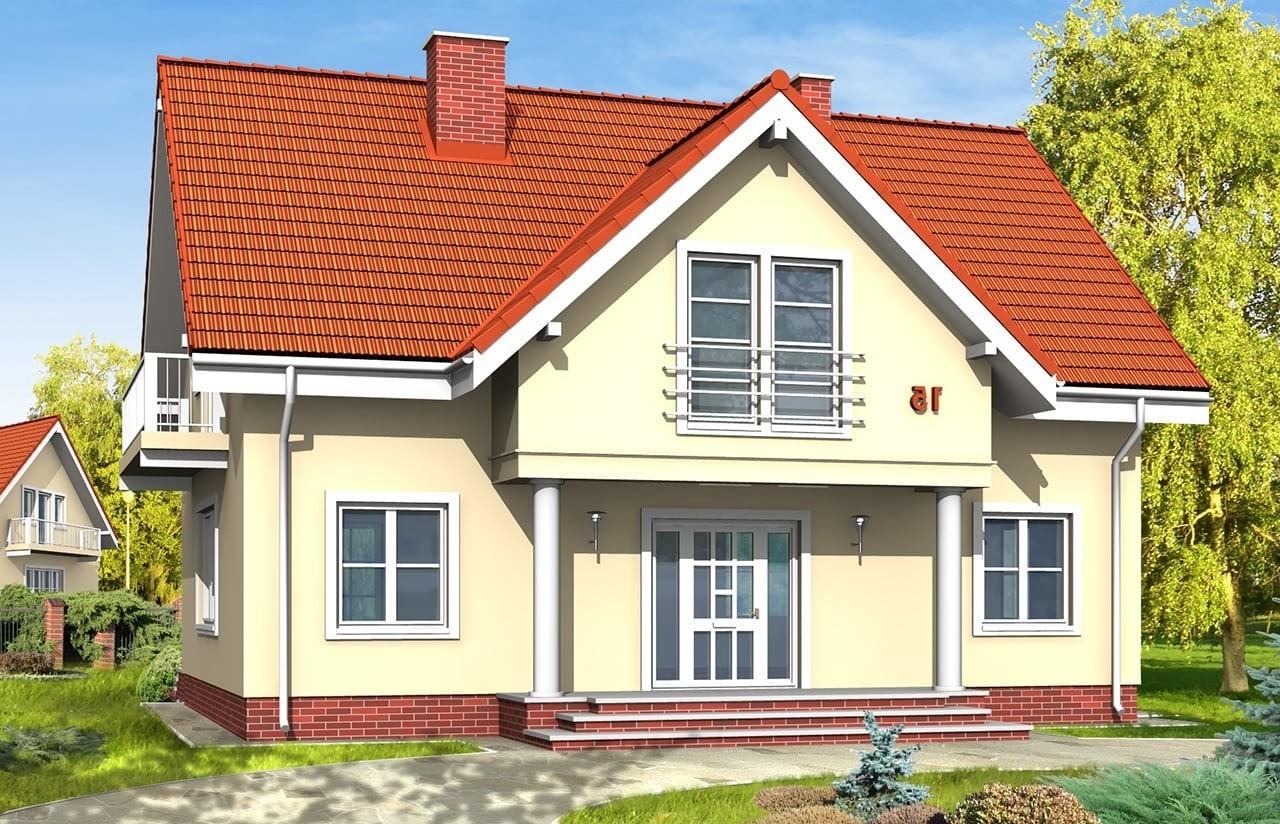 Projekt domu Miodowe Lata - wizualizacja frontowa odbicie lustrzane