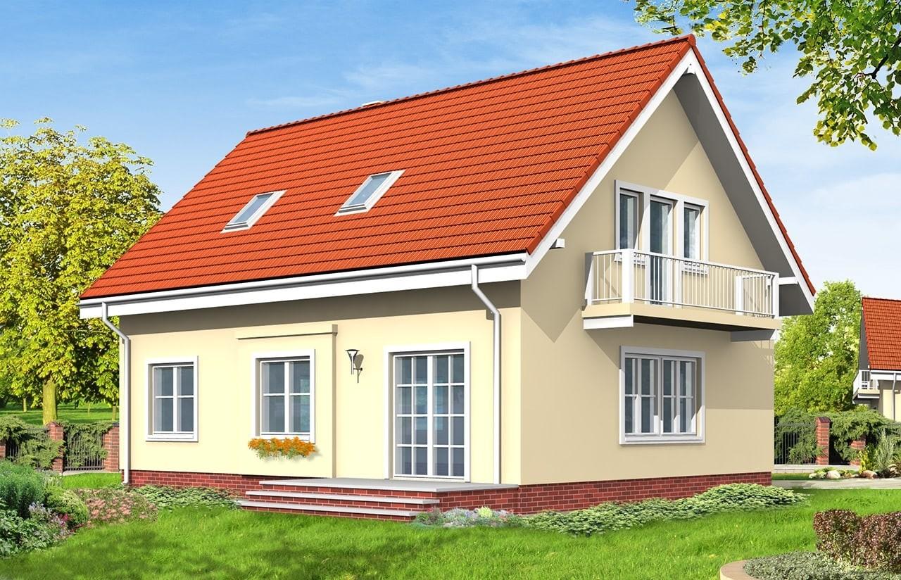 Projekt domu Miodowe Lata - wizualizacja tylna odbicie lustrzane