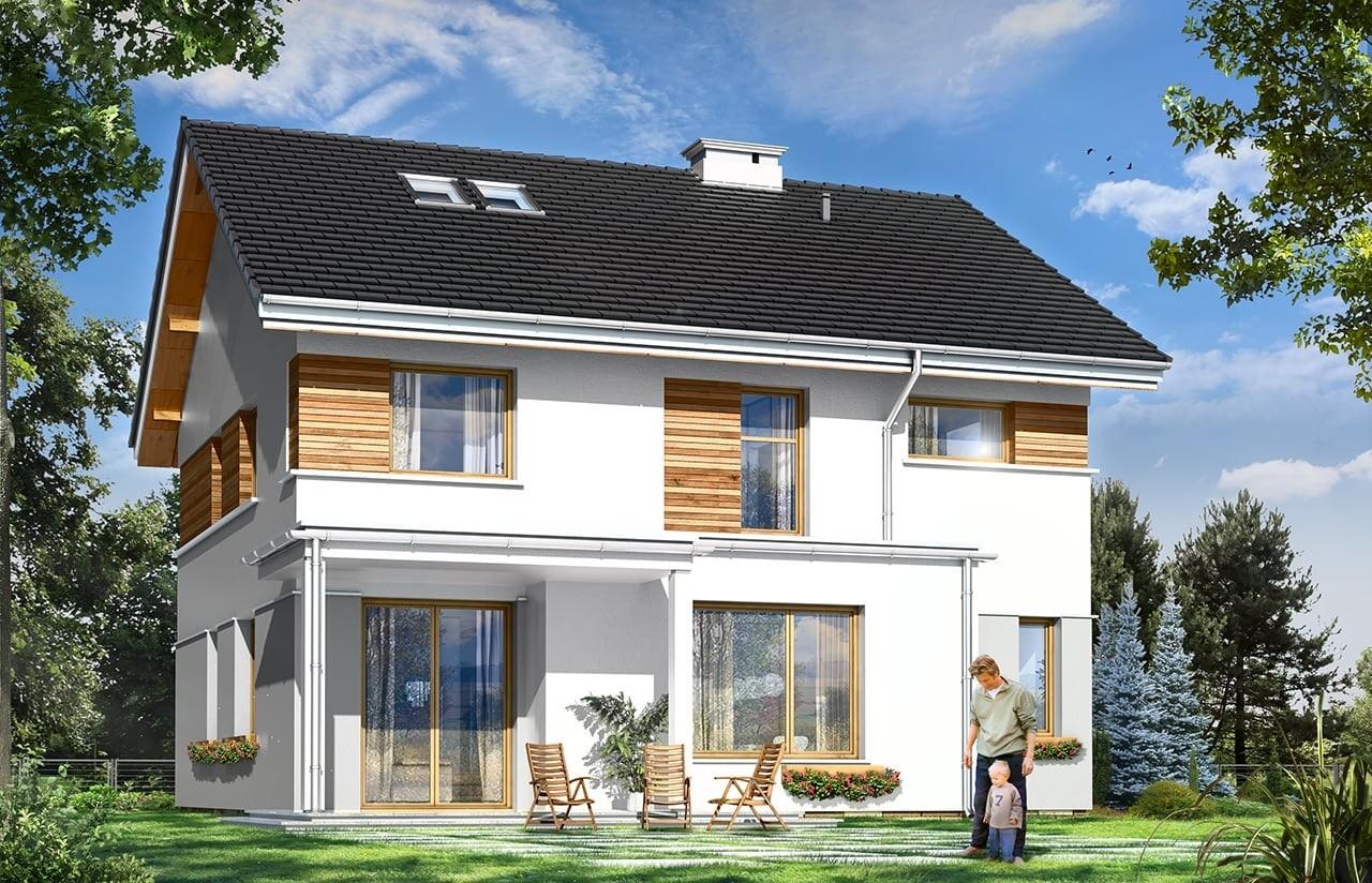 Projekt domu Miranda - wizualizacja tylna