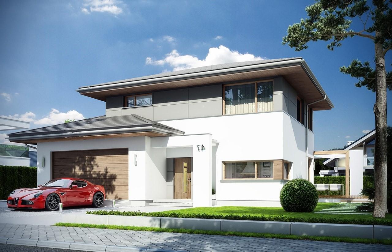 Projekt domu Modena - wizualizacja frontowa odbicie lustrzane