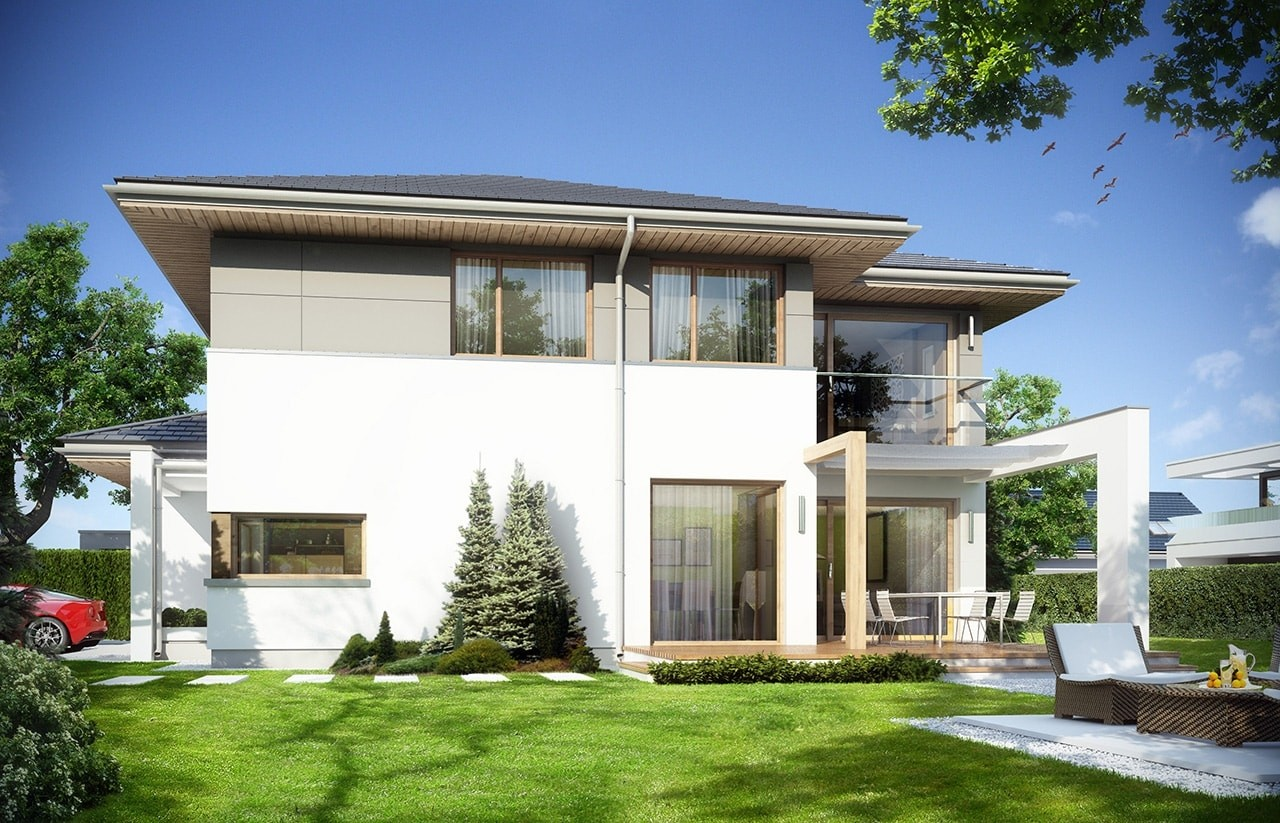 Projekt domu Modena - wizualizacja tylna odbicie lustrzane