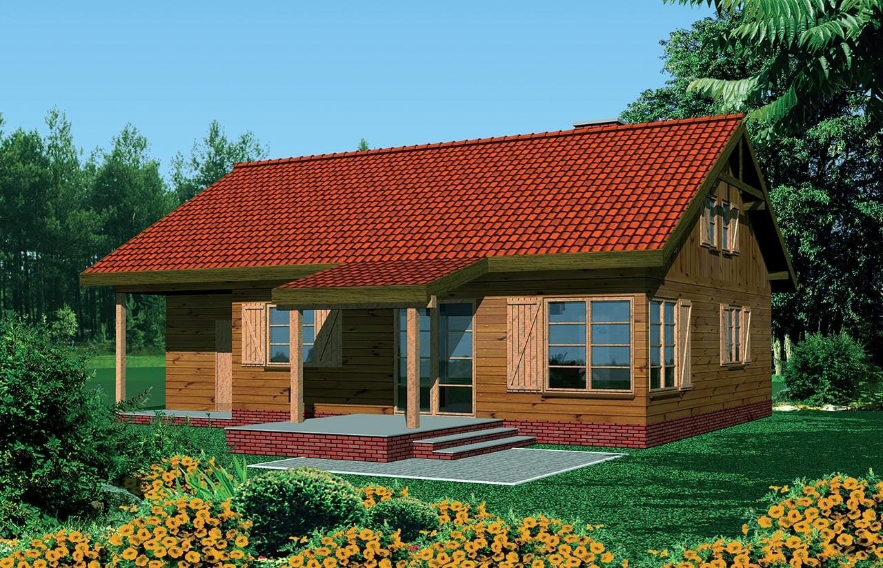 Projekt domu Modrzewiow - wizualizacja frontoway odbicie lustrzane