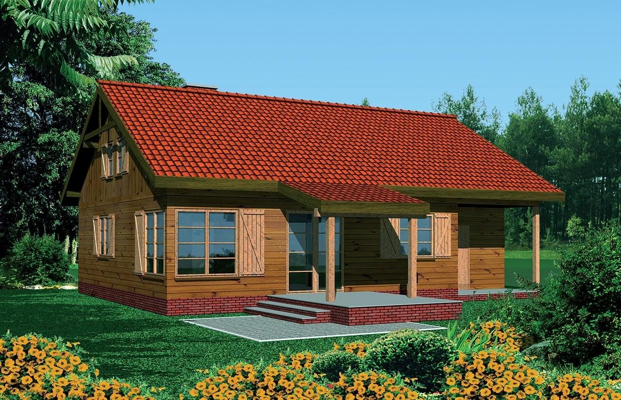 Projekt domu Modrzewiowy - wizualizacja frontowa