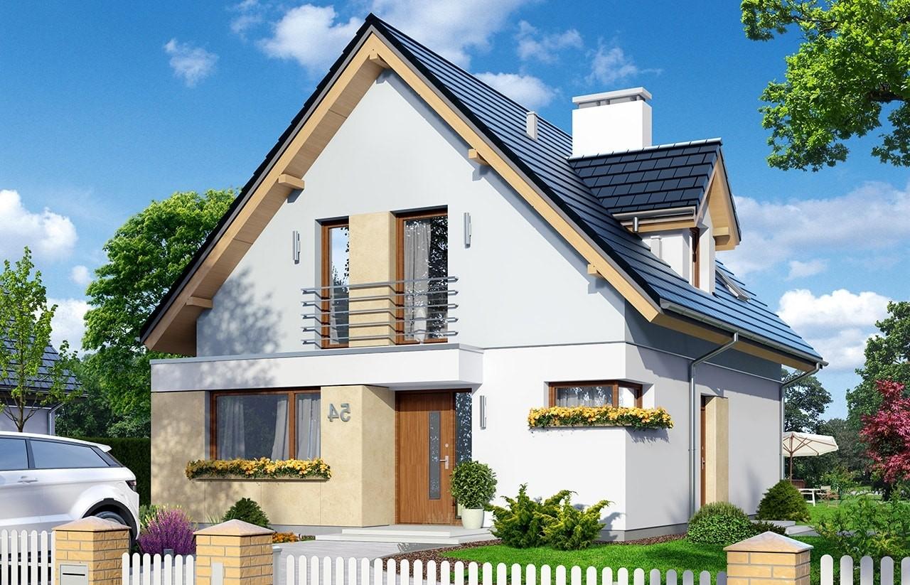 Projekt domu Na swoim 2 - wizualizacja frontowa odbicie lustrzane