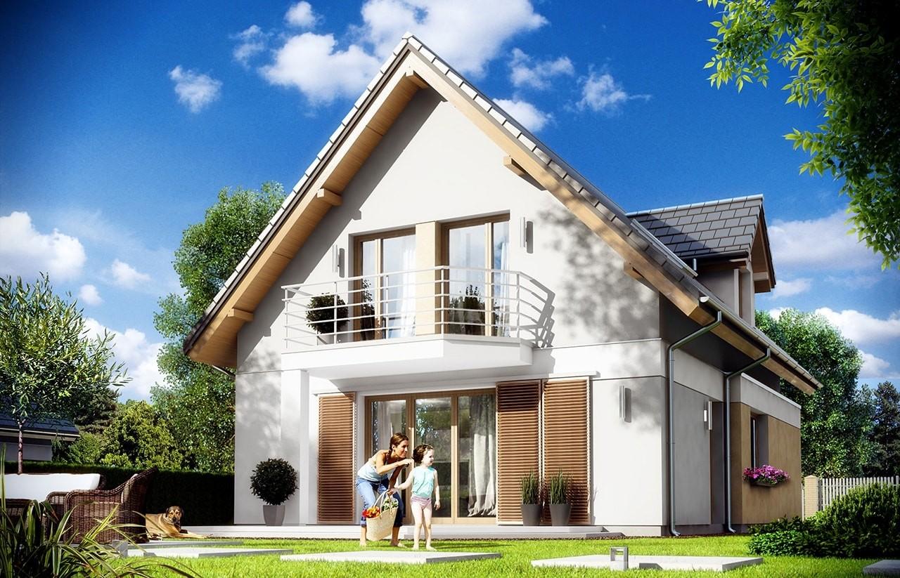 Projekt domu Na swoim 2 - wizualizacja tylna odbicie lustrzane