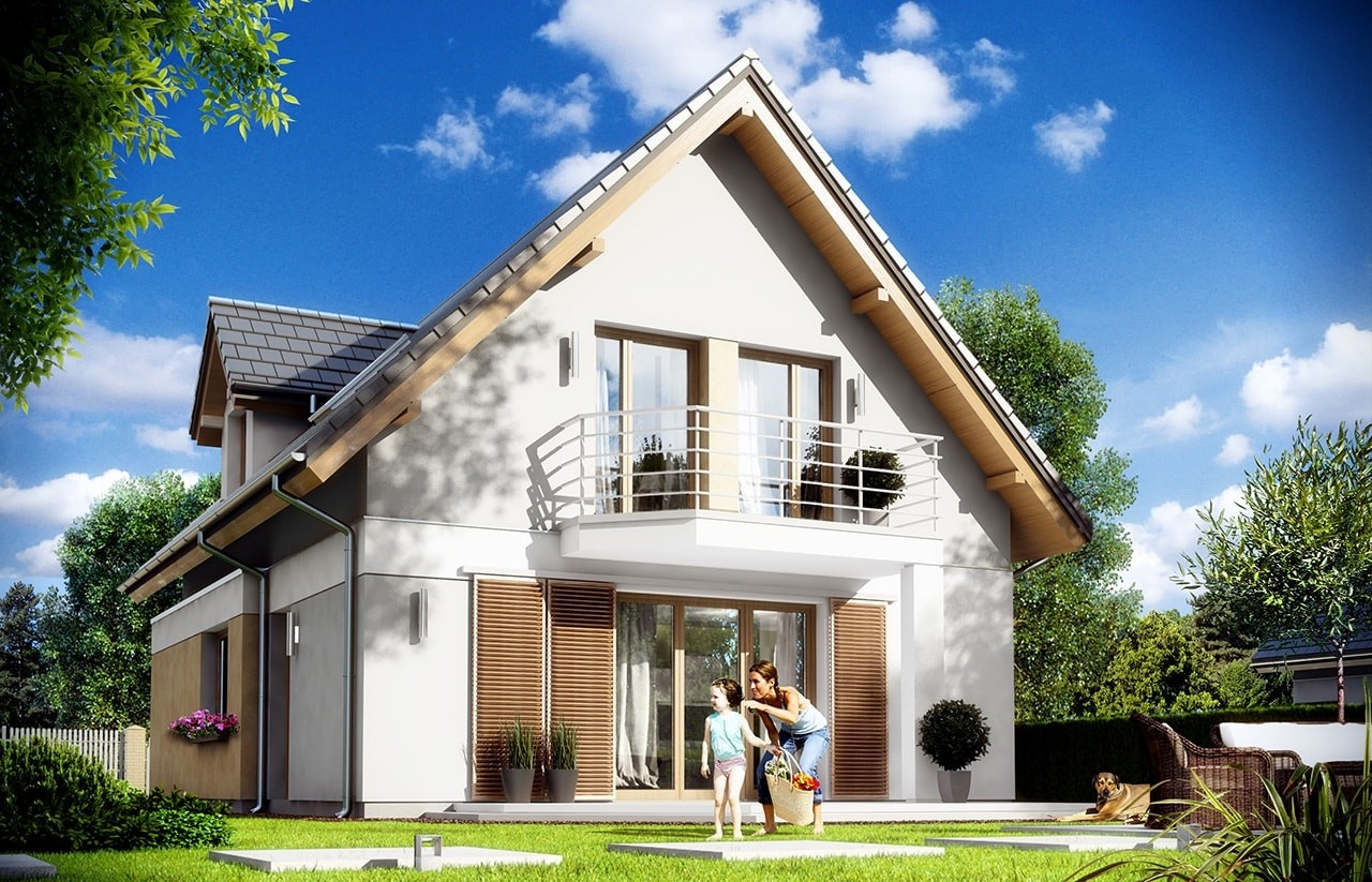 Projekt domu Na swoim 2 - wizualizacja tylna