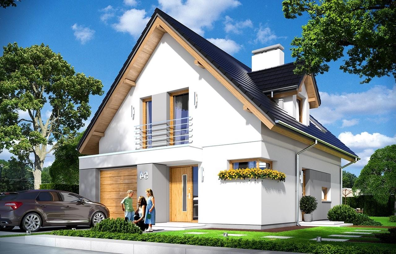 Projekt domu Na swoim - wizualizacja frontowa odbicie lustrzane