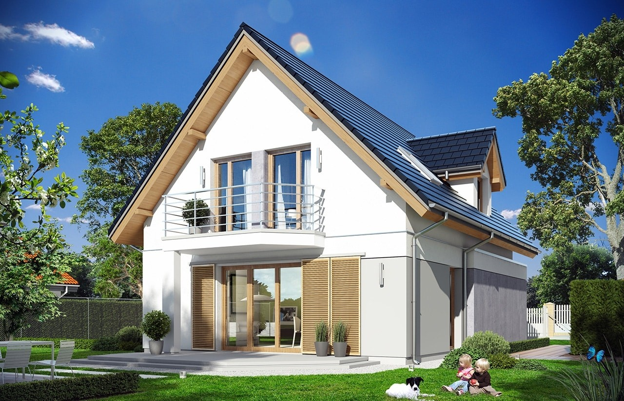 Projekt domu Na swoim - wizualizacja tylna odbicie lustrzane