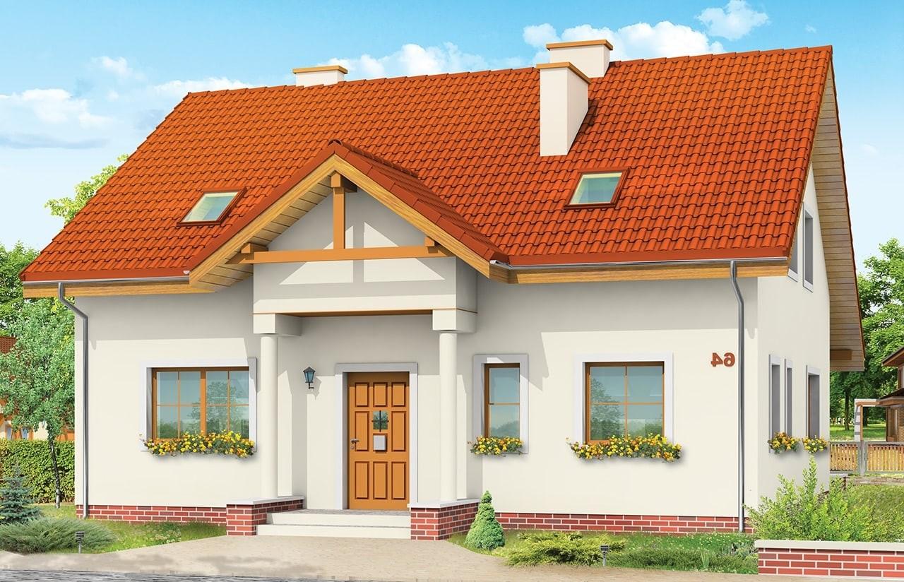 Projekt domu Na Wspólnej - wizualizacja frontowa odbicie lustrzane