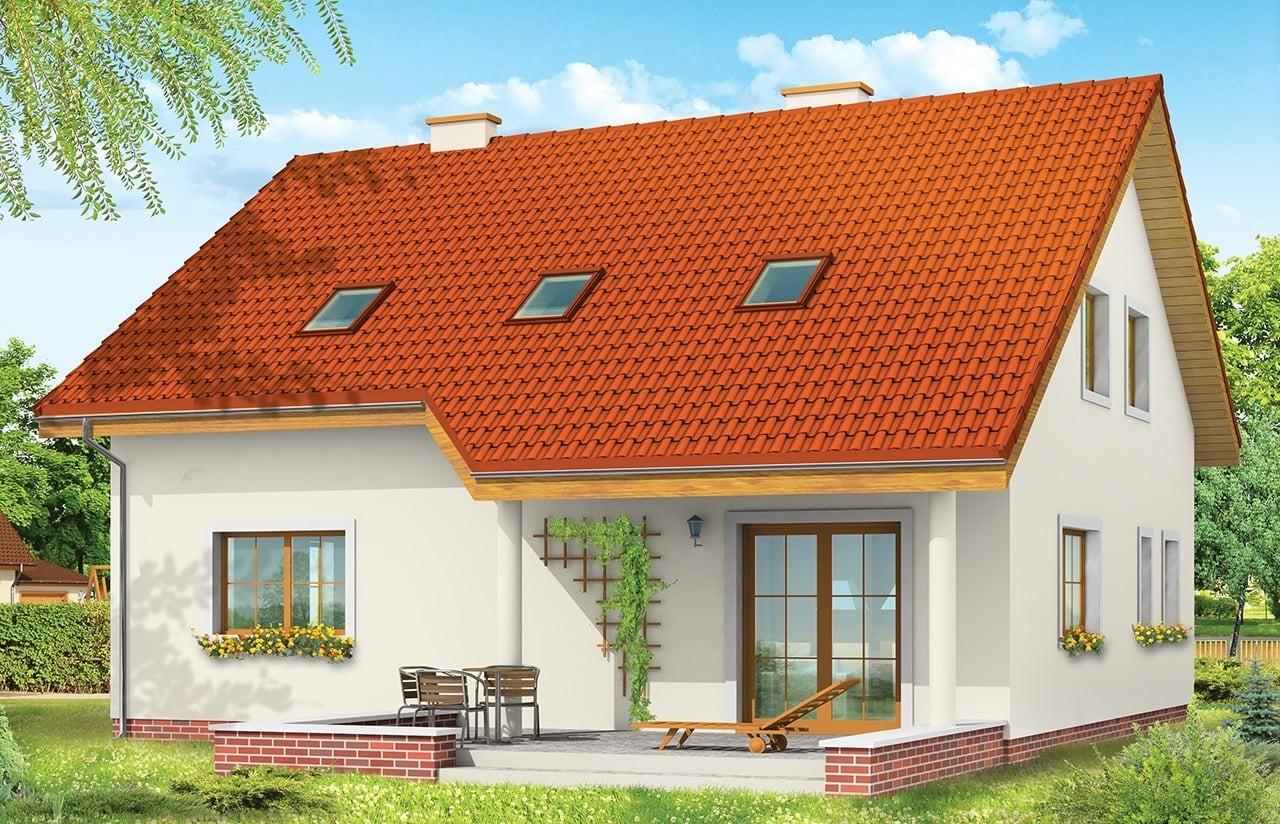Projekt domu Na Wspólnej - wizualizacja tylna