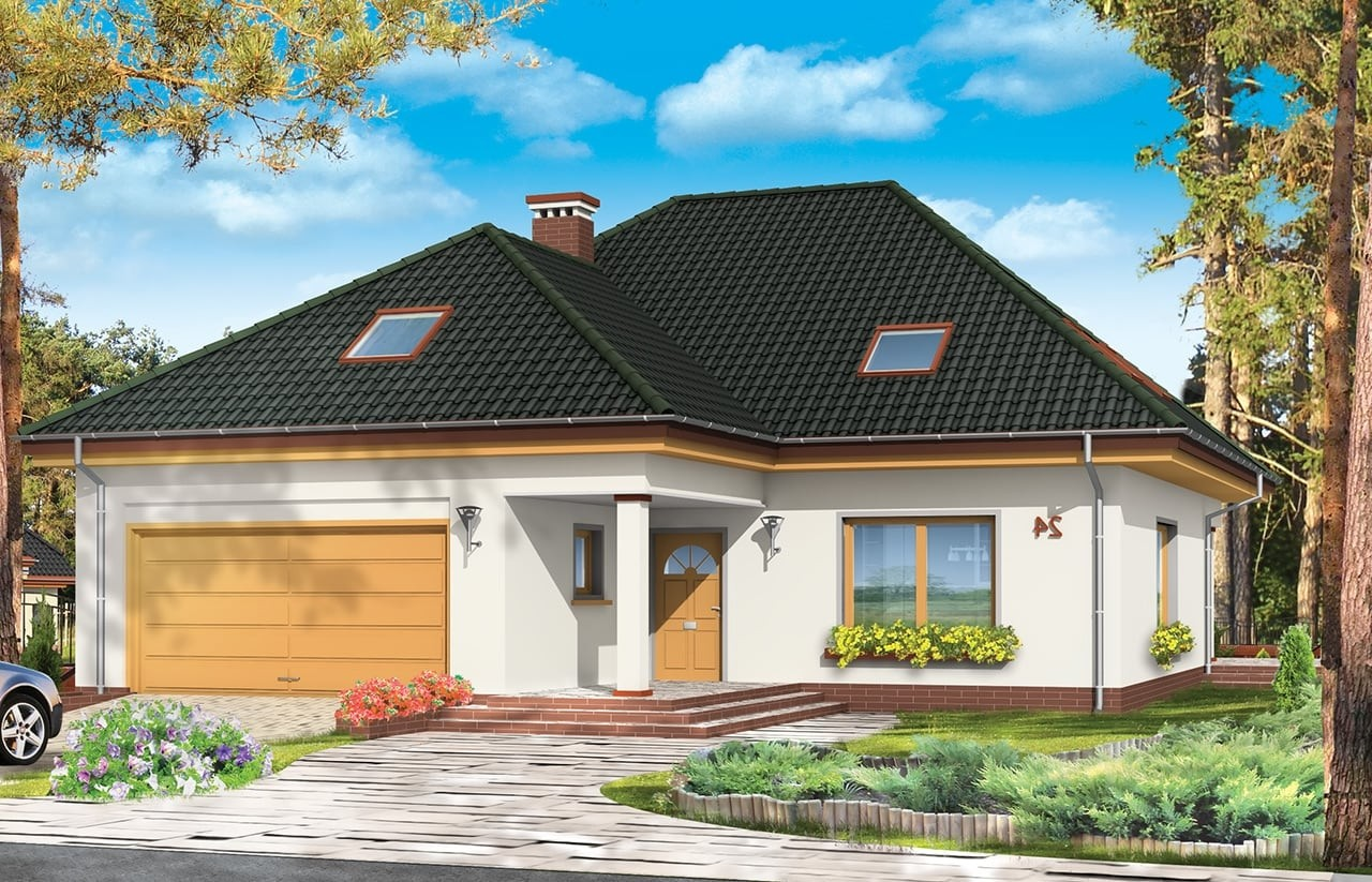 Projekt domu Natalia 2 - wizualizacja frontowa odbicie lustrzane