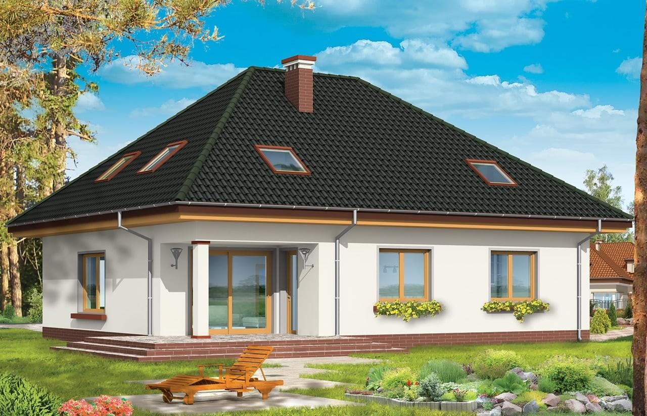 Projekt domu Natalia 2 - wizualizacja tylna odbicie lustrzane
