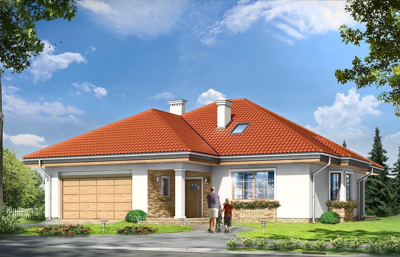 Projekt domu Natalia 3 - wizualizacja frontowa odbicie lustrzane