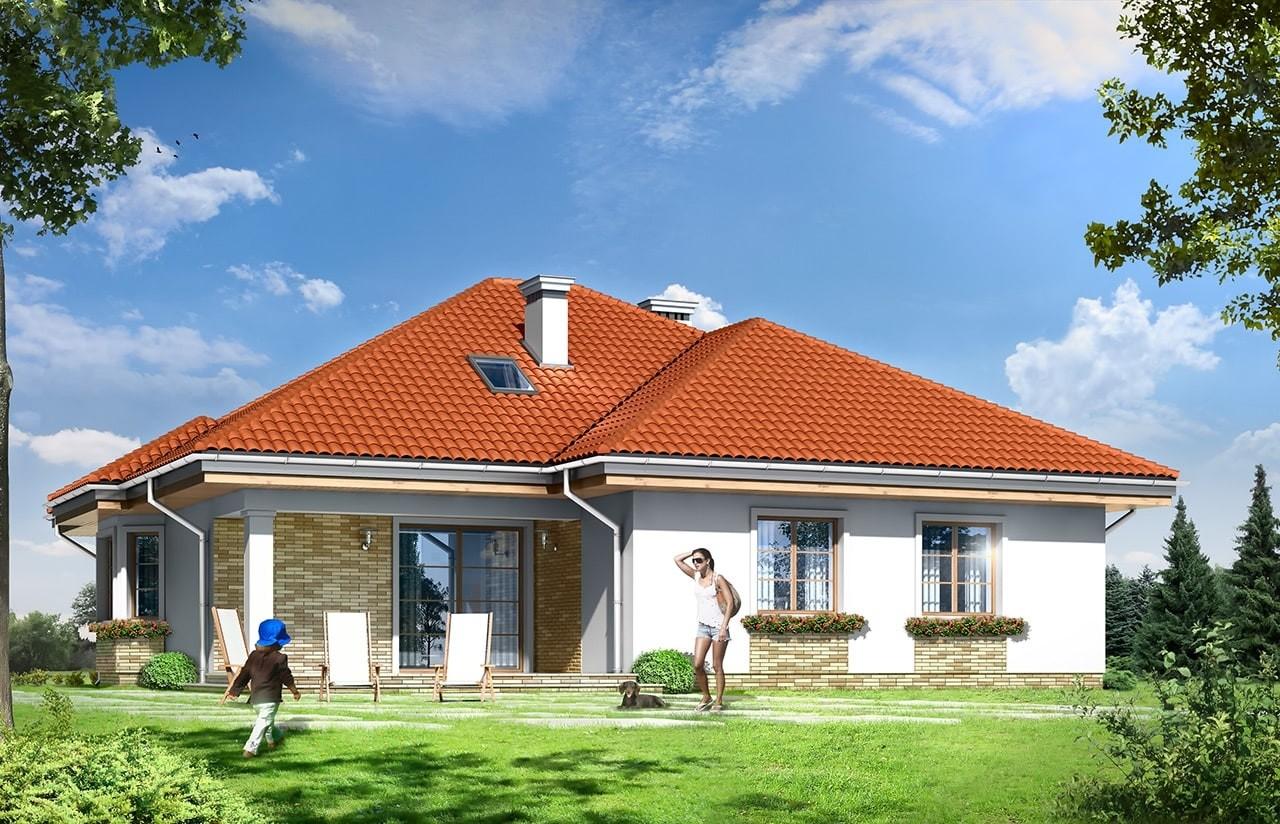 Projekt domu Natalia 3 - wizualizacja tylna odbicie lustrzane