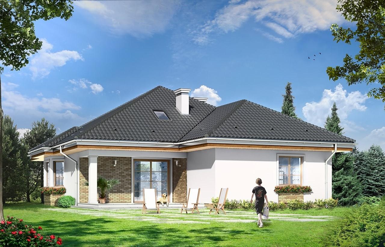 Projekt domu Natalia 4 - wizualizacja tylna odbicie lustrzane