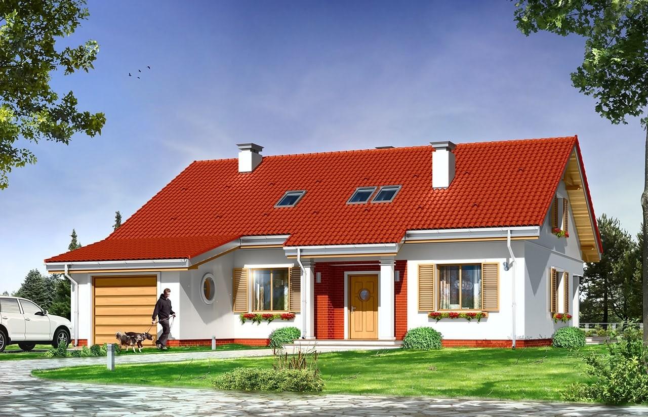 Projekt domu Nektarynka - wizualizacja frontowa odbicie lustrzane