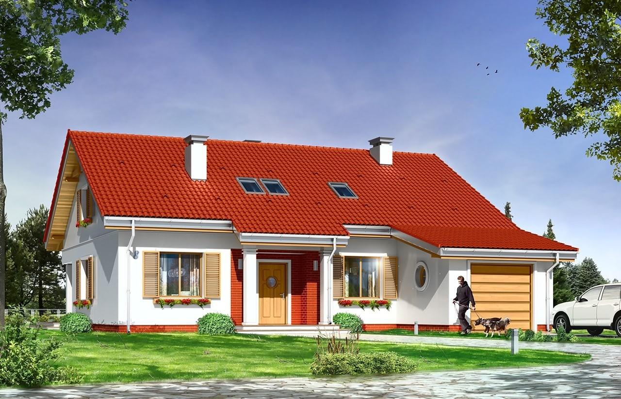 Projekt domu Nektarynka - wizualizacja frontowa