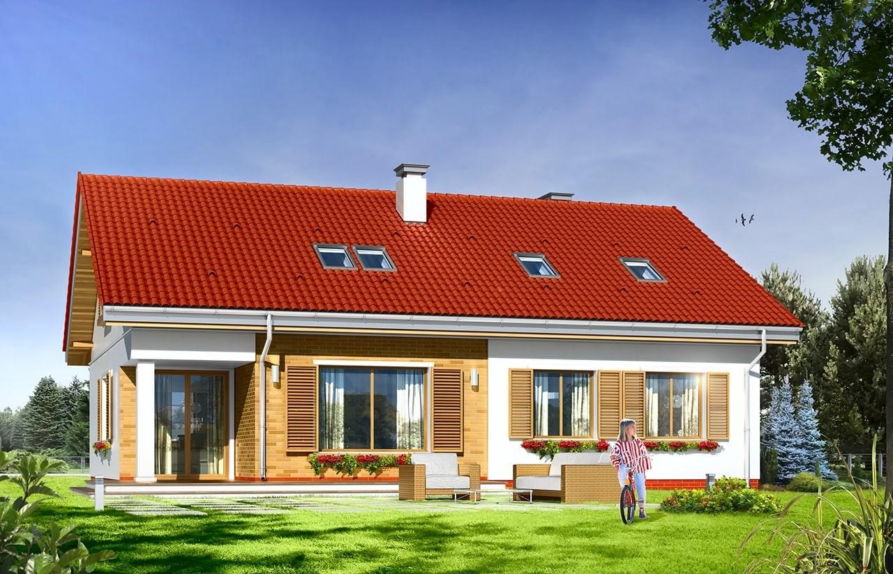 Projekt domu Nektarynka - wizualizacja tylna odbicie lustrzane