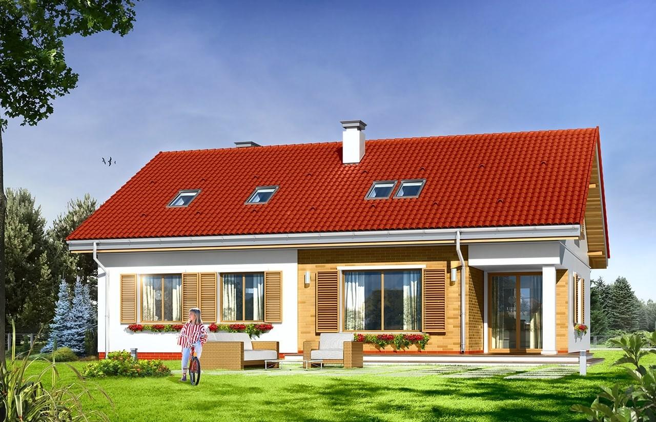 Projekt domu Nektarynka - wizualizacja tylna