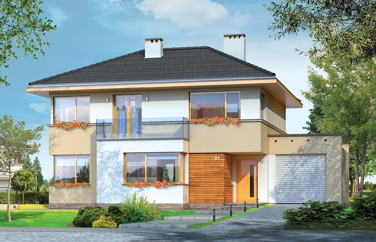 Projekt domu Nieduży - wizualizacja frontowa odbicie lustrzane