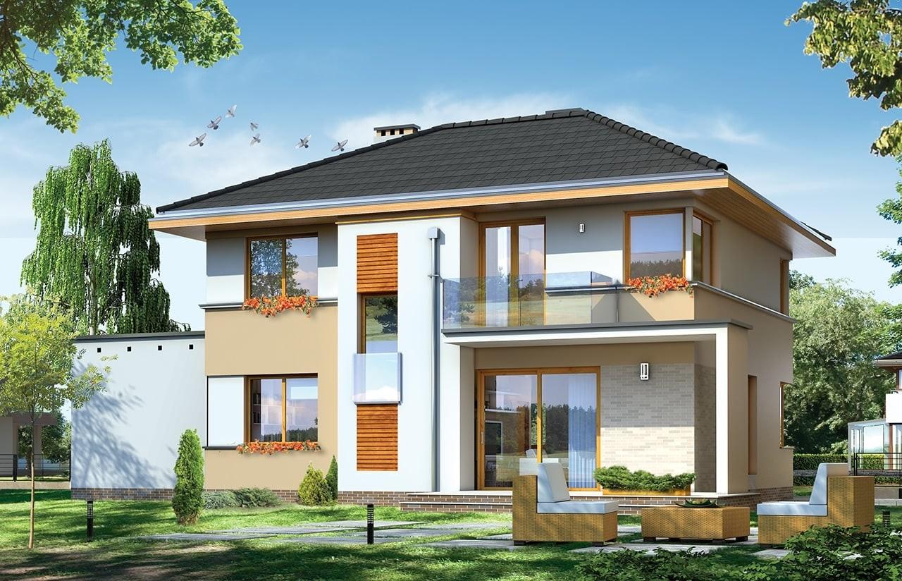 Projekt domu Nieduży - wizualizacja tylna odbicie lustrzane
