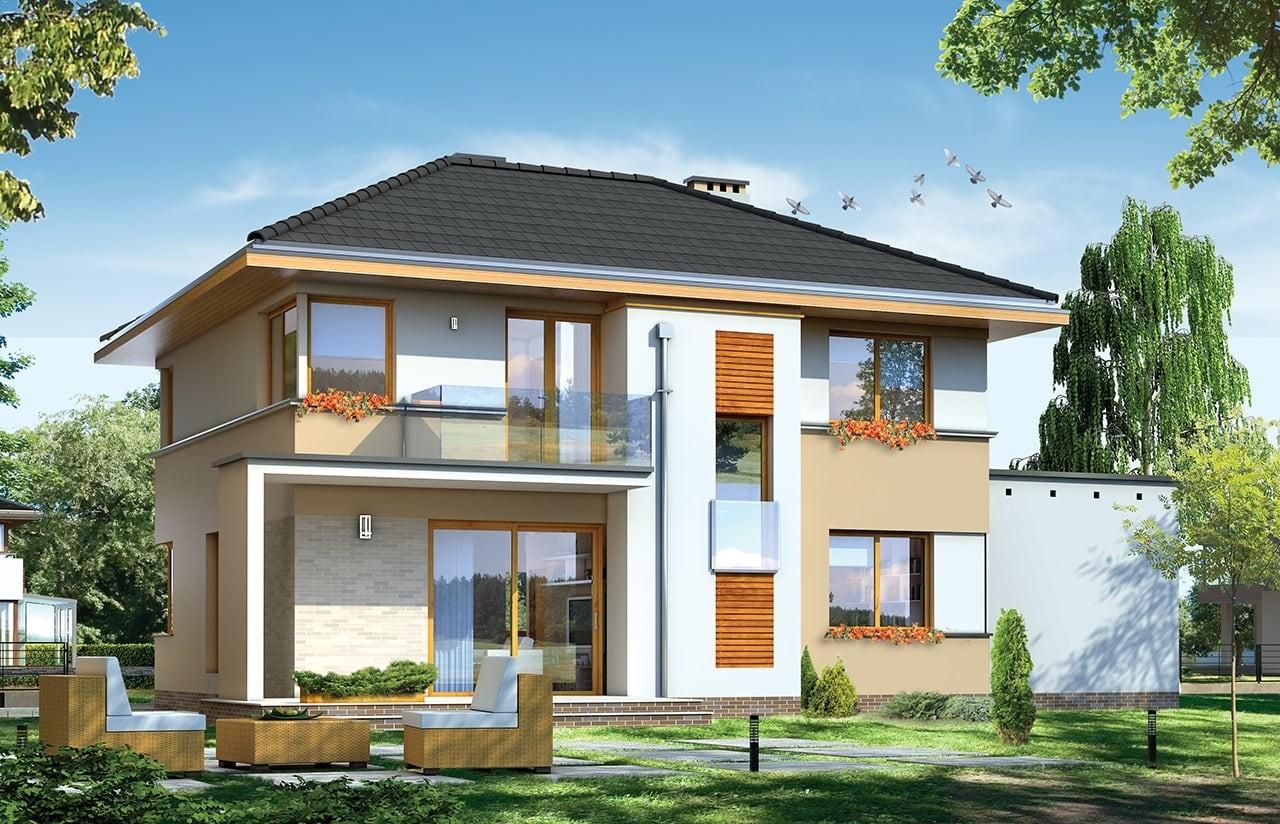 Projekt domu Nieduży - wizualizacja tylna