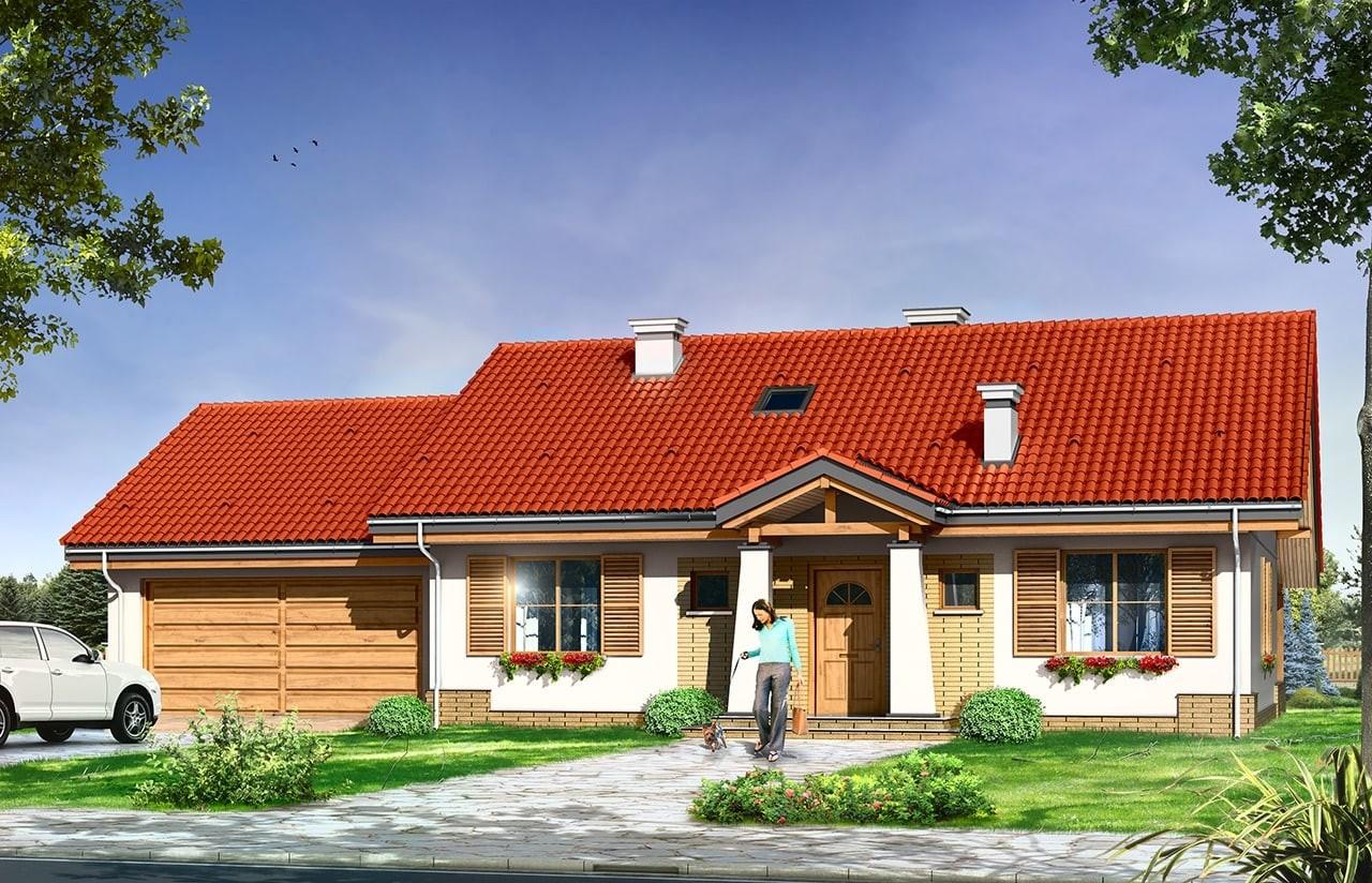 Projekt domu Niezapominajka z garażem 2 - wizualizacja frontowa odbicie lustrzane