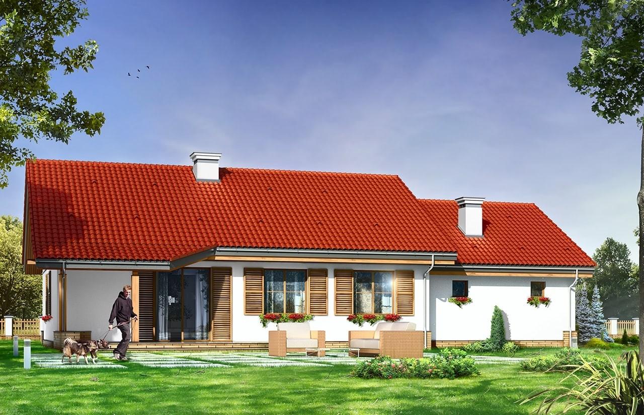 Projekt domu Niezapominajka z garażem 2 - wizualizacja tylna odbicie lustrzane