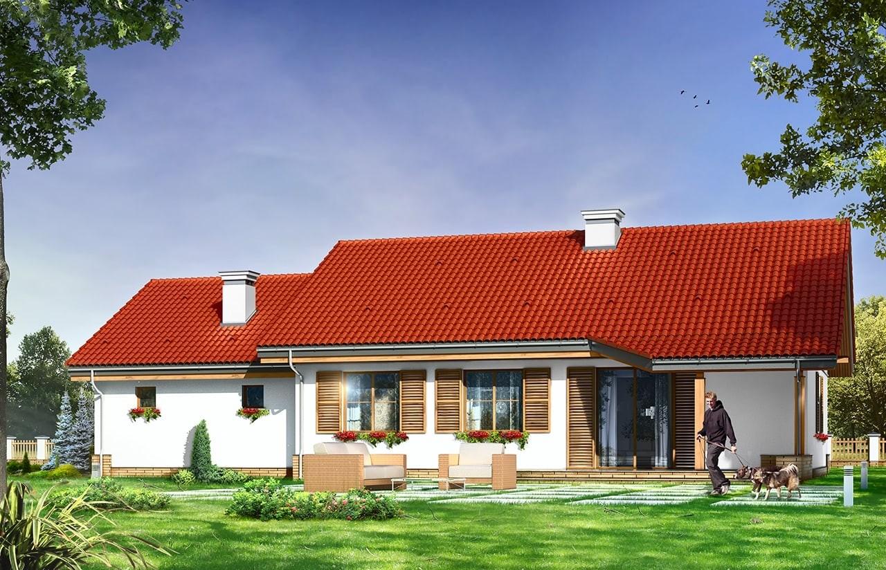 Projekt domu Niezapominajka z garażem 2 - wizualizacja tylna