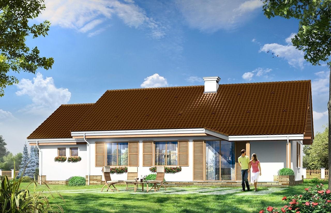 Projekt domu Niezapominajka z garażem - wizualizacja tylna