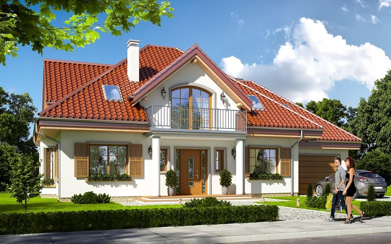 Projekt domu Ofelia 2 - wizualizacja frontowa odbicie lustrzane