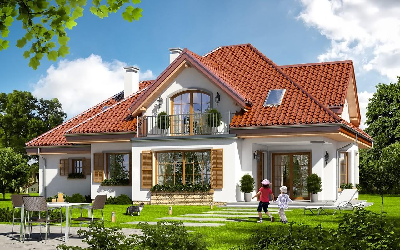 Projekt domu Ofelia 2 - wizualizacja tylna odbicie lustrzane